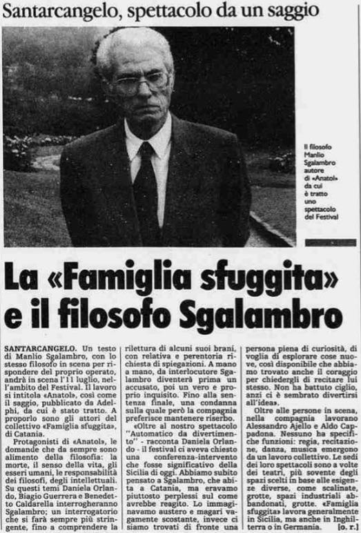 La famiglia sfuggita e il filosofo Sgalambro