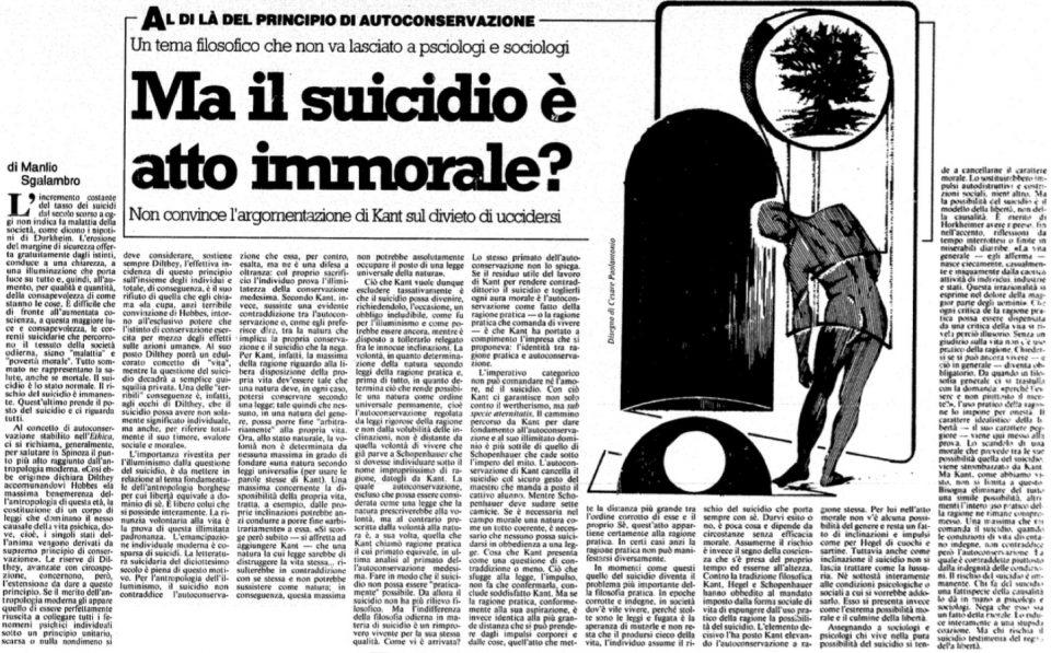 Ma il suicidio è atto immorale?