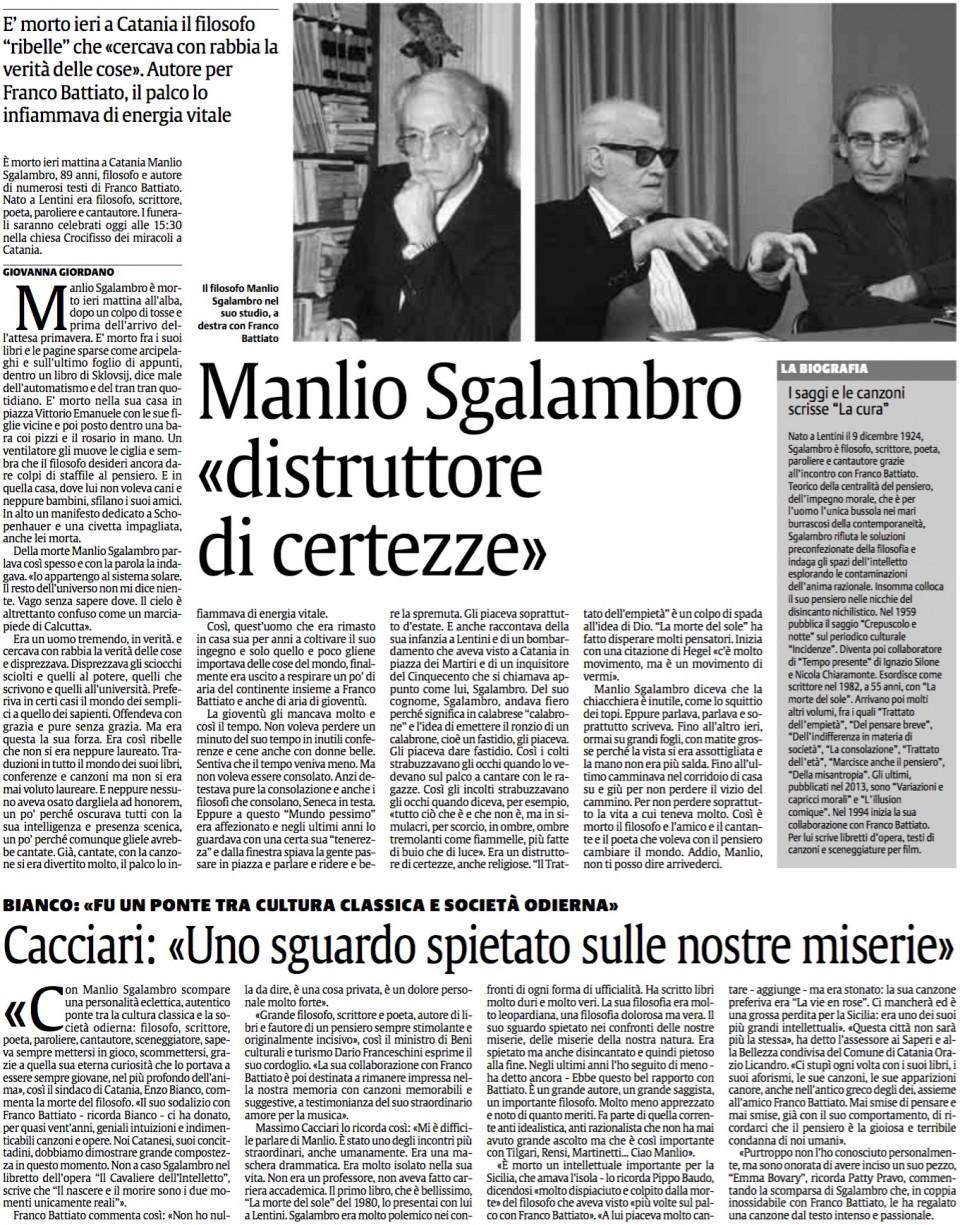 Manlio Sgalambro «distruttore di certezze»