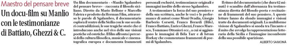 Un docu-film su Manlio Sgalambro con le testimonianze di Battiato Ghezzi & C.